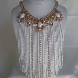 NEW Statement Rhinestone Necklace Long White